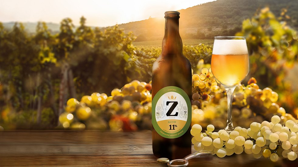 Svatomartinský pivní speciál Sauvin 11 vyrobili nadšenci v Znojemském pivovaru. Zrál na vinných kvasinkách z regionu. Foto: Znojemský městský pivovar
