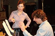 Zpěvačka a šansoniérka Jana Musilová v doprovodu pianisty a skladatele Petra Maláska vystoupila ve středu večer ve znojemském divadle.