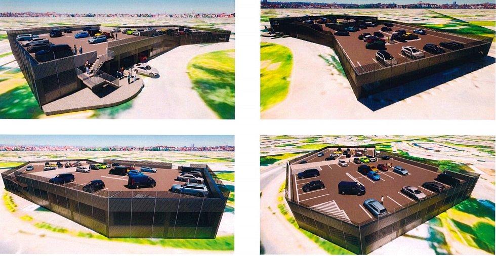Návrh parkovacího domu na nám. Svobody Znojmo. Vizualizace: Znojmoprojekt