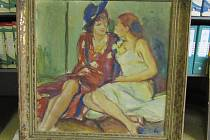 Obraz Dvě přítelkyně prodal Úřad pro zastupování v elektronické aukci.