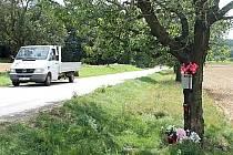 Tragedii na silnici mezi Hradištěm a Mašovicemi u Znojma dnes připomíná pietní místo s pomníčkem a květinami.