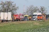 Nehoda motocyklu na hlavním tahu ze Znojma na Pohořelice, v místě nedaleko Práčí.