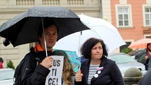 Ve Znojmě protestovaly dvě až tři stovky lidí.