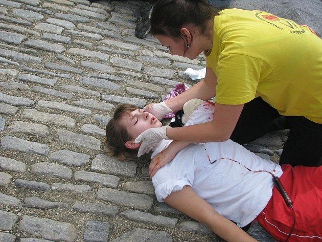 Ukázkový zásah záchranářů v centru Znojma
