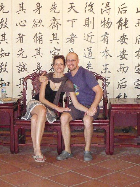 Valerie a David Kozelští vTainanu na Tchai-Wanu.
