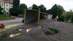 Z převráceného kamionu v Tulešicích se vysypalo 27 tun slunečnice
