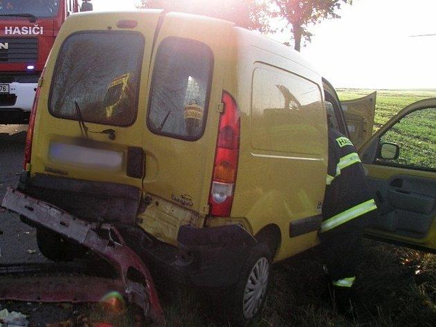 Dopravní nehoda u obce Dobřínsko na Znojemsku.