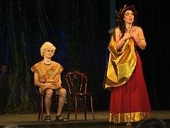 Zcela zaplněné divadlo si nenechalo ujít premiéru hry Osvobozeného divadla Nebe na zemi v podání herců Divadelního studia Martiny Výhodové.