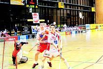 PROTI VICEMISTRŮM. Florbalisté v duelu s Vítkovicemi budou možná postrádat útočníka Josefa Žižku (na snímku vpředu), kterého po posledním utkání trápí zdravotní problémy.