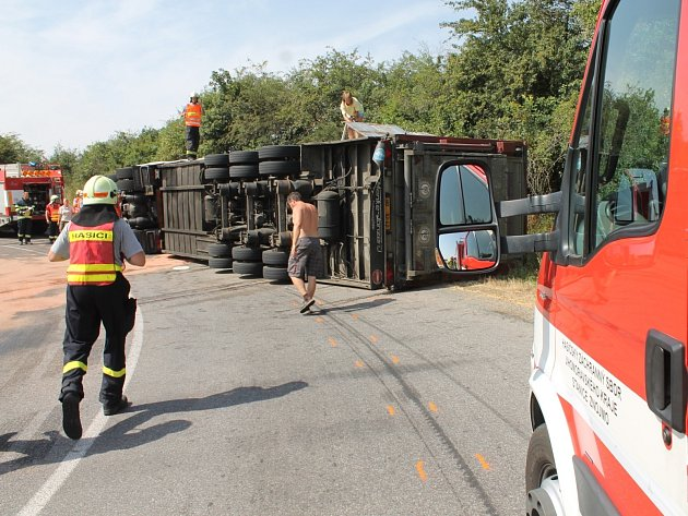 V ostré levotočivé zatáčce mezi Plavčí a Mikulovicemi havaroval kamion se zvířaty.