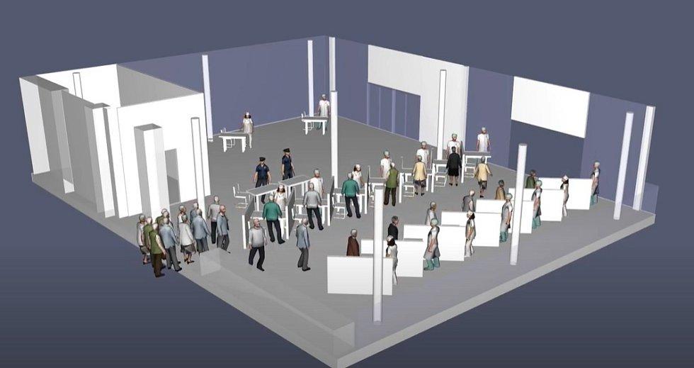 Simulace vstupní prohlídky lékařem v očkovacím centru na brněnském výstavišti.