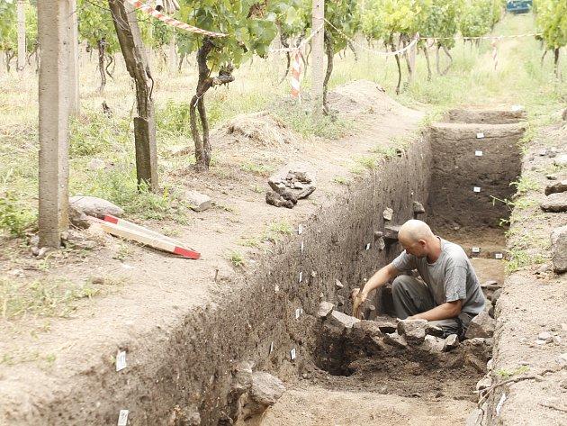 Archeologové provádí záchranný výzkum ve vinici Šobes.
