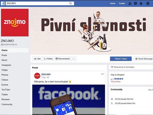 Facebookové stránky města Znojma. Ilustrační foto.