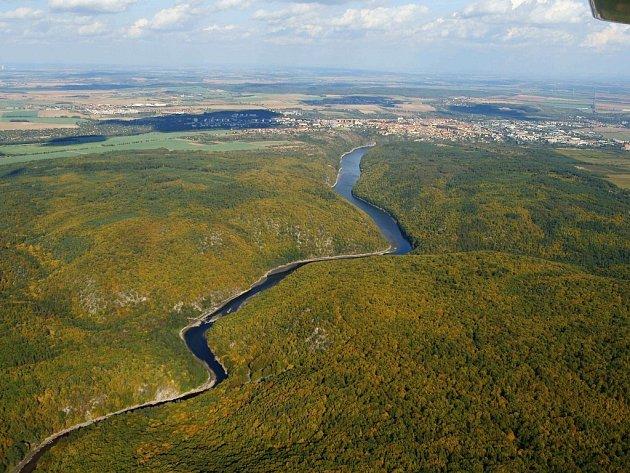 Letecký snímek Dyje.