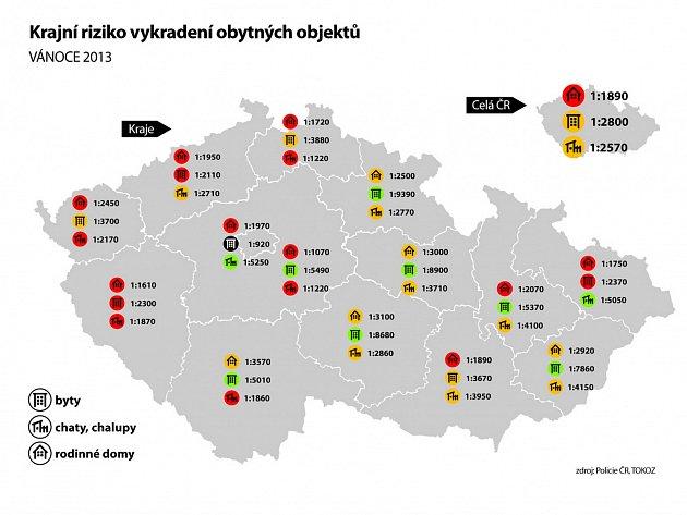 Jaká je vjednotlivých krajích šance, že zloděj oVánocích vyloupí váš dům, byt nebo chalupu? Napoví indikátor aktuální krajní riziko vykradení, pracující skriminalistickými daty Policie ČR.
