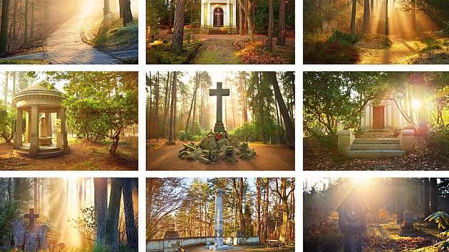 Pohlednice z fotografií novoborského Lesního hřbitova.