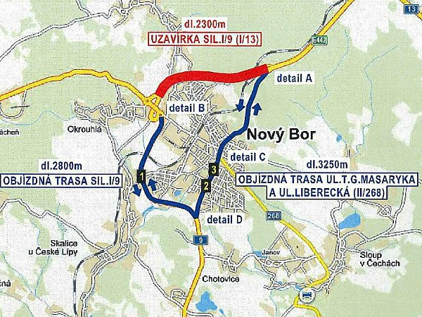 Objízdné trasy, které vNovém Boru platí kvůli úplné uzavírce Egermannovy ulice, budou muset ovíkendu využít také řidiči mířící zLiberce na Děčín a opačně. Práce silničářů totiž uzavřou část obchvatu.