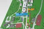Testovací místo se nachází v zadní části budovy polikliniky (budova B) a je přístupno pouze z venkovní lávky. Na mapce je označené červeným bodem.