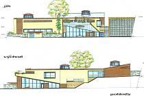 Návrh knihovny podle architekta Miroslava Pavljuka je umístěn na pozemcích vedle Loretánské uličky.