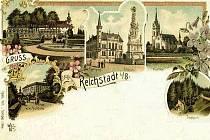 Na pohledu z roku 1898 je vidět i zámek v Zákupech.