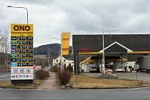 Benzinová pumpa ONO ve Cvikově.