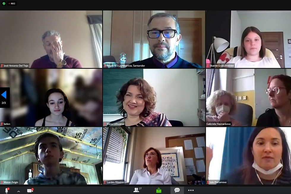 Virtuální setkání projektu Living Beside the Water programu Erasmus + v portugalském Seixalu.