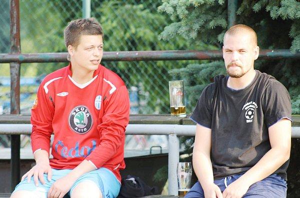 Zápasová relaxační pauza vítězné dvojice Tomáš Křenek a Martin Šteffl.
