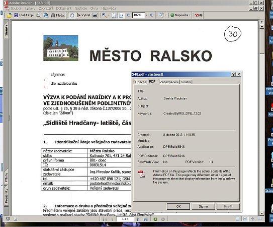 Veřejná zakázka na webu města. Vyvěšená byla zřejmě se zpožděním.