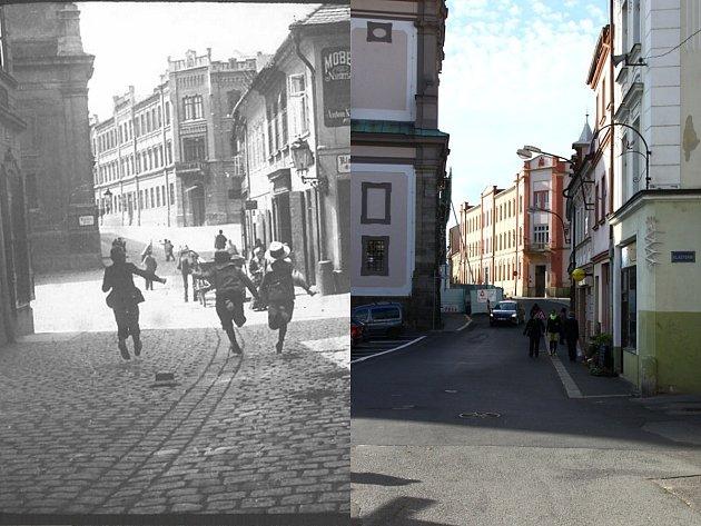 PRŮHLED Tržní ulicí na Klášterní náměstí a nároží Klášterní ulice na přelomu 18. a 19. století v porovnání se současností.