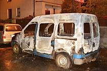 Požár auta v Malé ulici v České Lípě.