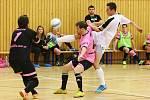 Synek atakován Boškou se snaží překonat gólmana Tvaroha.