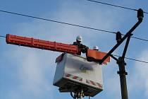 Na stožáry vysokého napětí montují energetici ptákosedy.