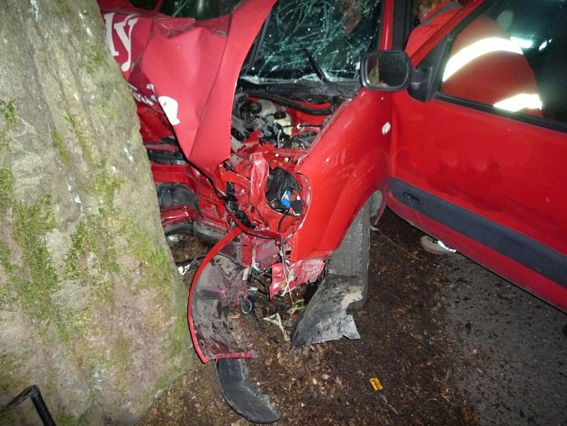 Řidička nezvládla řízení a narazila s vozem do stromu