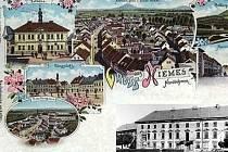 Pohlednice Mimoně pochází z roku 1901. V pravém rohu je snímek zámku na náměstí v roce 1984. Tedy rok před tím, než ho srovnali se zemí.