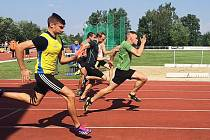 Krajský přebor atletických družstev v Turnově.