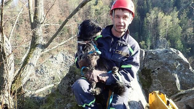 Hasiči na hradě Fredevald na Českolipsku zachraňovali psa.