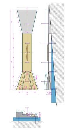 Molo na technickém výkresu. Vizualizace jeho podoby budou kdispozici, až se bude připravovat svrchní část lávky.