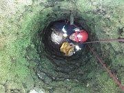 Hasiči zachránili jezevce uvízlého v studni.