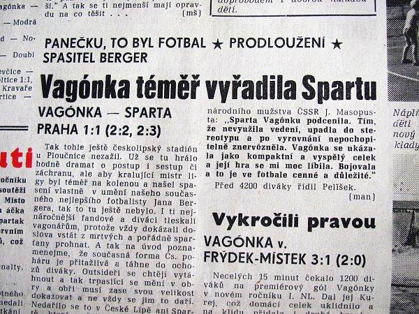 SRPEN 1985.Vagónka hrála pohár súřadujícím mistrem ligy - Spartou Praha.