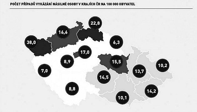Počet případů vykázání násilné osoby vkrajích ČR na 100000obyvatel.