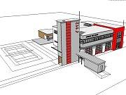 Vizualizace nové hasičské stanice v Doksech. Hasiči budou mít v novém objektu k dispozici 3 garážová stání včetně myčky, zázemí pro službukonající příslušníky, prostory pro skladování pohonných hmot a také dílny nezbytné pro chod stanice. Předpokládané ná