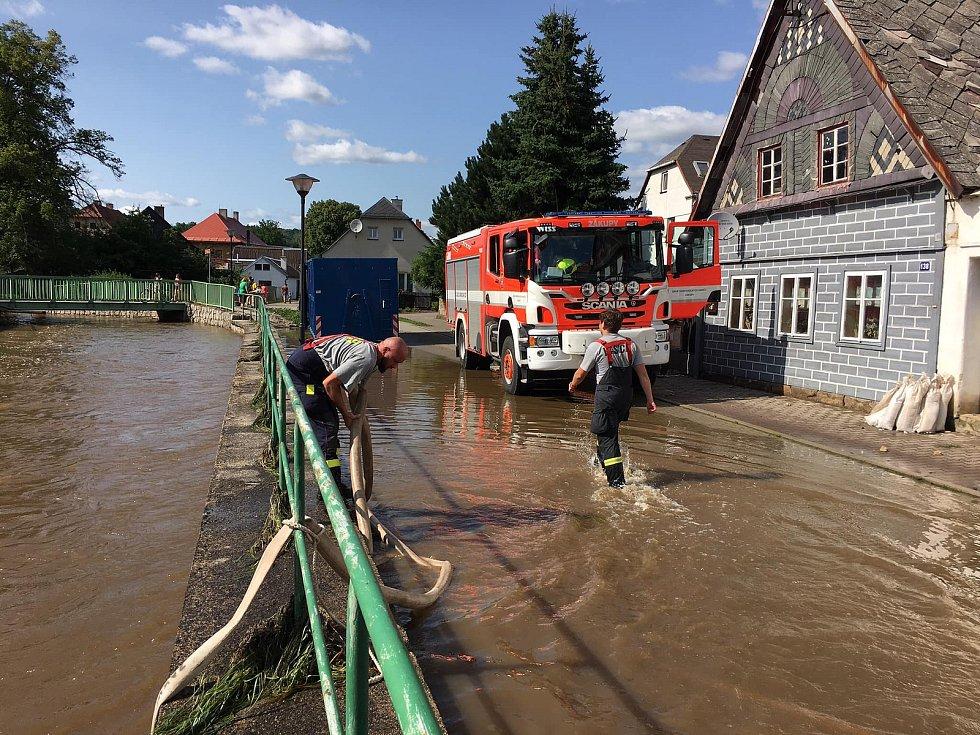 Povodeň v Zákupech v roce 2021.