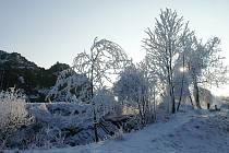 Leden jak má být. Zasněžená krajina v okolí Panské skály na Práchni.