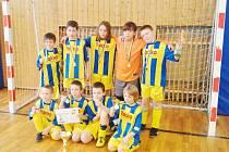 Vítězná sestava Lokomotivy (zleva nahoře): Lupoměský, Komárek, Rus, Gembec, Ritschel (klečící zleva) Babic, Plůcha, Kavenský, Brejcha.