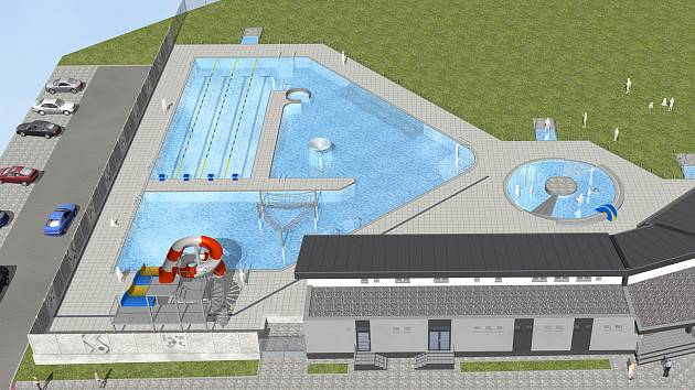 Vizualizace venkovního bazénu v České Lípě.