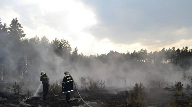 Oheň zasáhl zhruba dva hektary porostu, příčina i škoda se zjišťují.