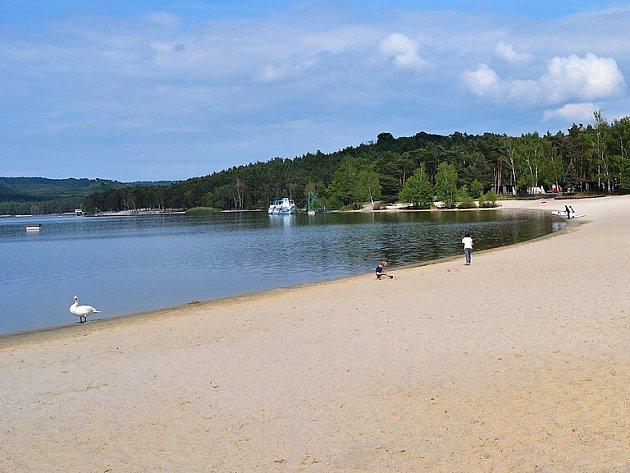 Díky nižší hladině jsou u Máchova jezera o něco větší písečné pláže.
