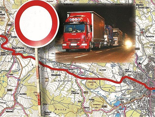 STOP! Silnice II/262 bude pro kamiony uzavřená od 22. do 6. hodiny.