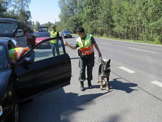 Policisté a celníci při kontrolách.