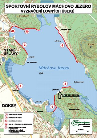 Mapa lovných úseků na Máchově jezeře.